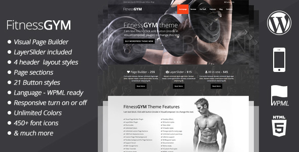Free Download FitnessGYM V2.4 WordPress Sport/Fitness Theme