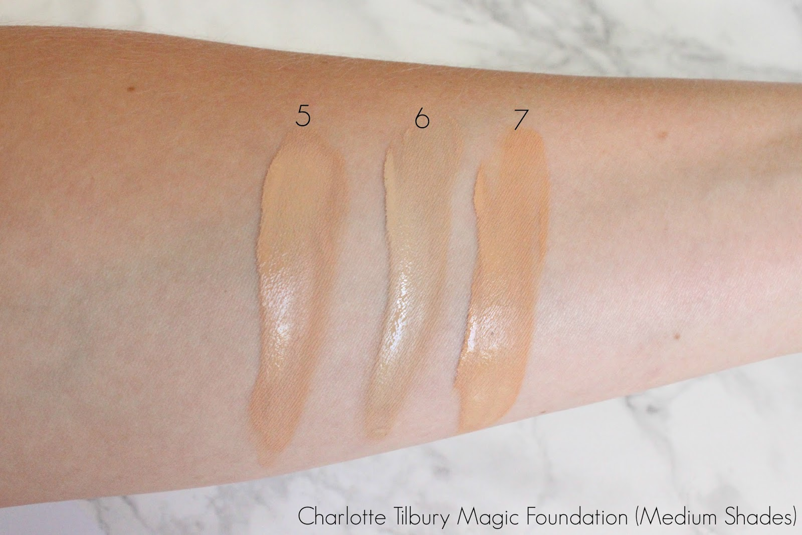 Charlotte Tilbury Magic Foundation Swatches