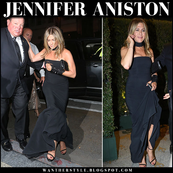 Jennifer Aniston in black strapless gown michael kors and black sandals stuart weitzman nudist april 14 party fashion