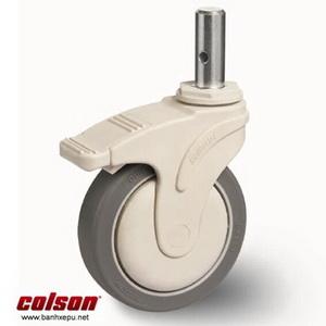 Bánh xe trục trơn Colson có khóa càng nhựa 5 inch | STO-5851-448BRK4 banhxepu.net