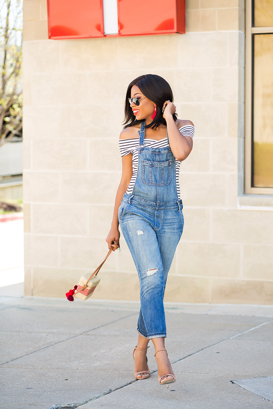 denim overall and off shoulder top, www.jadore-fashion.com