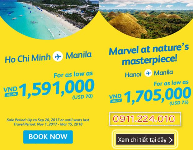 Cebu Pacific Khuyến mãi bay đi Manila từ Hà Nội, Sài Gòn ngày 18/09/2017