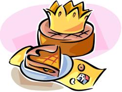 galette des Rois avec couronne et fève (dessin)