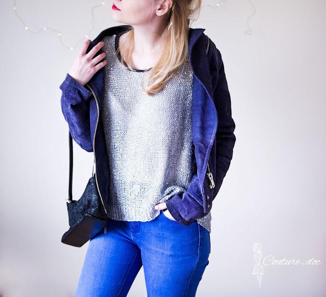 stylizacja ultrafioletowa kurtka camaieu, srebrna dzianinowa bluzka,