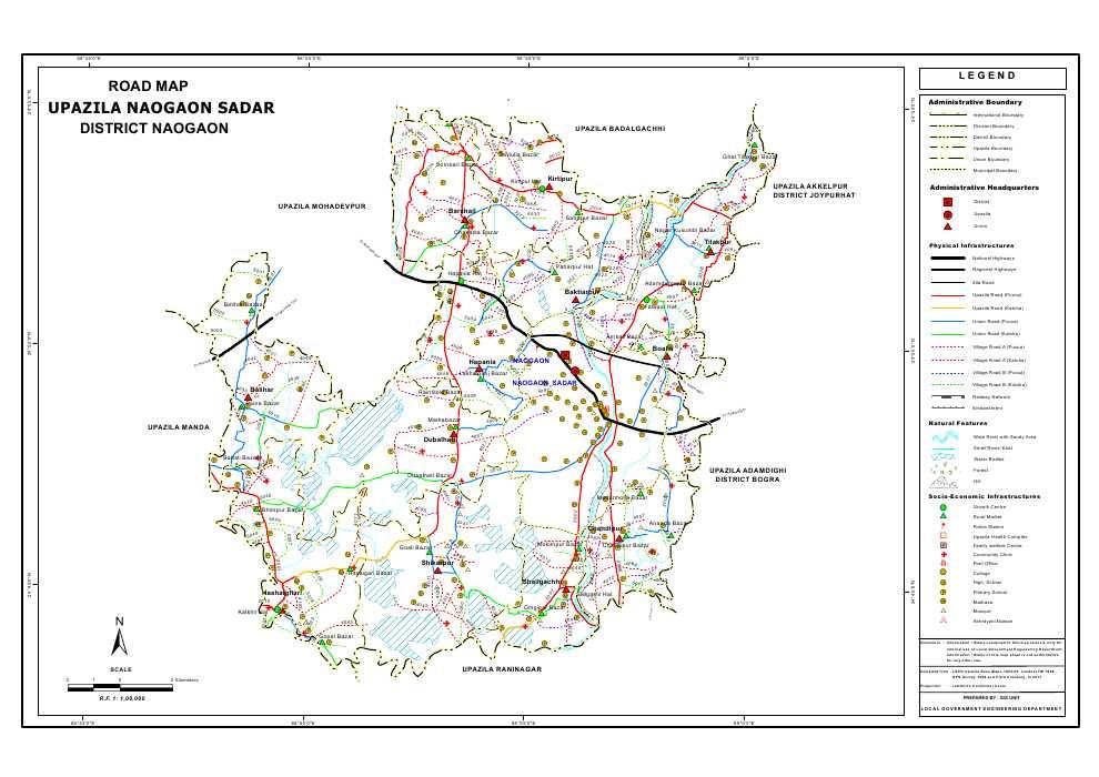Naogaon Sadar Upazila Road Map Naogaon District Bangladesh