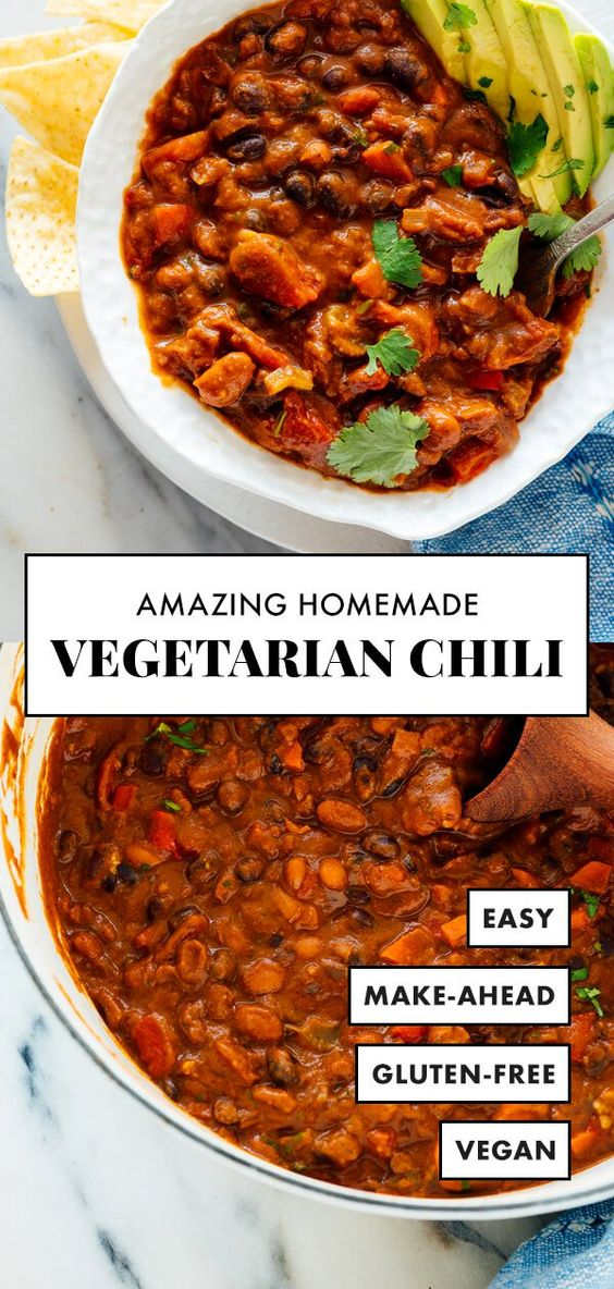 Truly the BEST vegetarian chili! This recipe is easy to make with basic ingredients. Leftovers taste even better the next day, and freeze great, too! #vegetarian #vegan #glutenfree #chilirecipe #cookieandkate