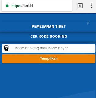 Form Kode Booking tiket kereta api
