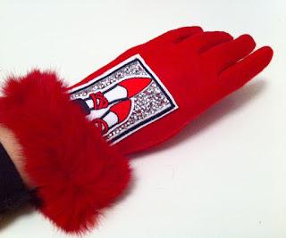 kırmızı eldiven kürk manşet Mary Jane