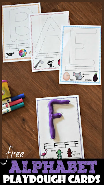 FREE Alphabet Playdough Cards - these free printable playdough mats are a fun way for toddler, preschool, kindergarten, and first grade kids to practice forming letters while strengthening muscles in hand. Also includes handwriting practice and several vocabulary with same phonemic sound as letter #alphabet #preschool #kindergarten #playdoughmat