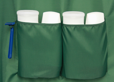 green shower curtain with pockets