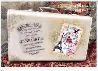 Dwie stare walizki w beżach i złoceniach – Paryż i herbata – Decoupage.