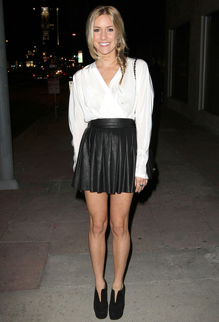 03275acfebe7 I spotted this picture of Kristin Cavallari a while ago and was instantly  in love with that pleated leather mini skirt. Everything in that  description is ...