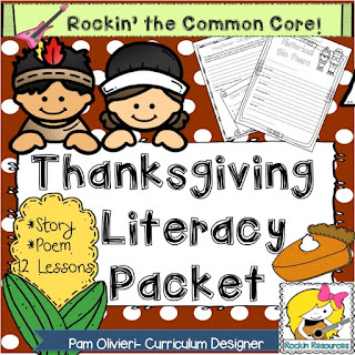 Find reading, writing, poetry, critical thinking centers for Thanksgiving