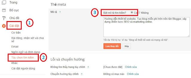 Tính năng mô tả trên blogspot rất có lợi cho SEO