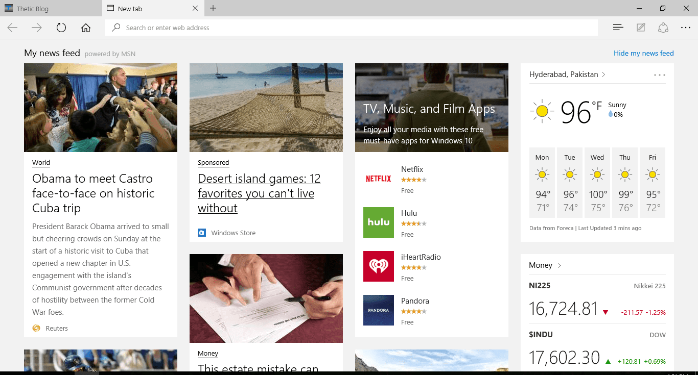 Google chrome vs microsoft edge windows 10 thetic blog for Windows home page