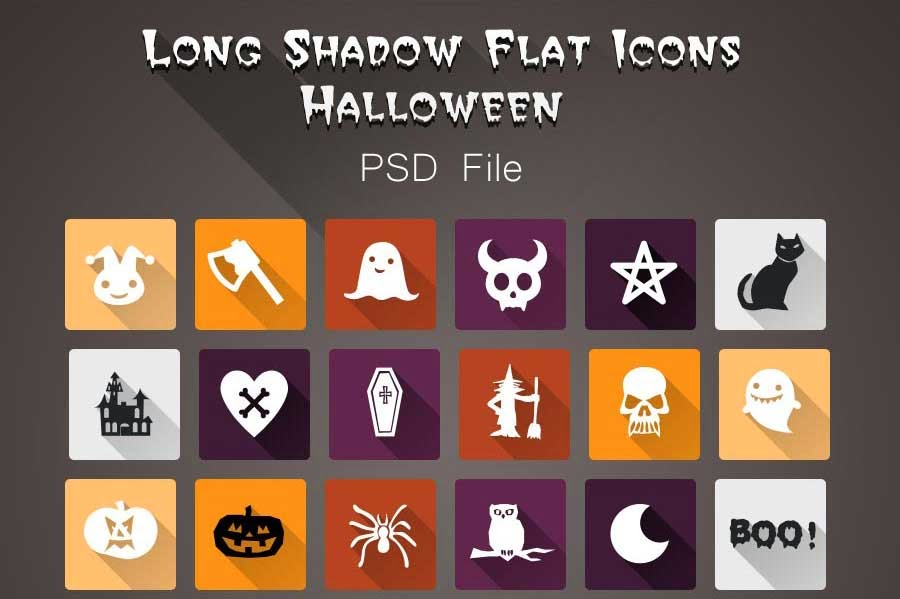 Free Halloween Long Shadow Flat Icons PSD