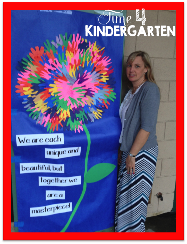 Open house Night in Kindergarten, kindergarten handprint flower, door decoration for open house