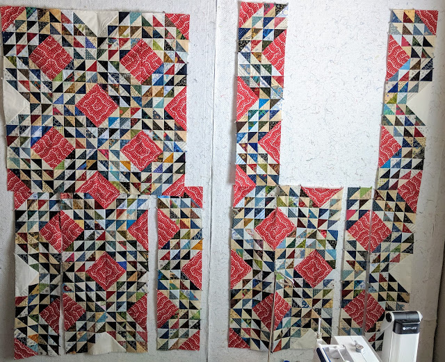 Two collaged photos show more progress in construction of the Ocean Waves quilt top