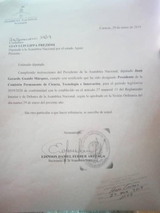 CARTA: Presidente encargado Juan Guaidó ratificó a diputado  Lippa en presidencia de Ciencia y Tecnología AN.