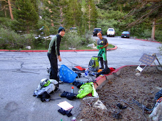 Sorting and packing our gear at the parking lot.
