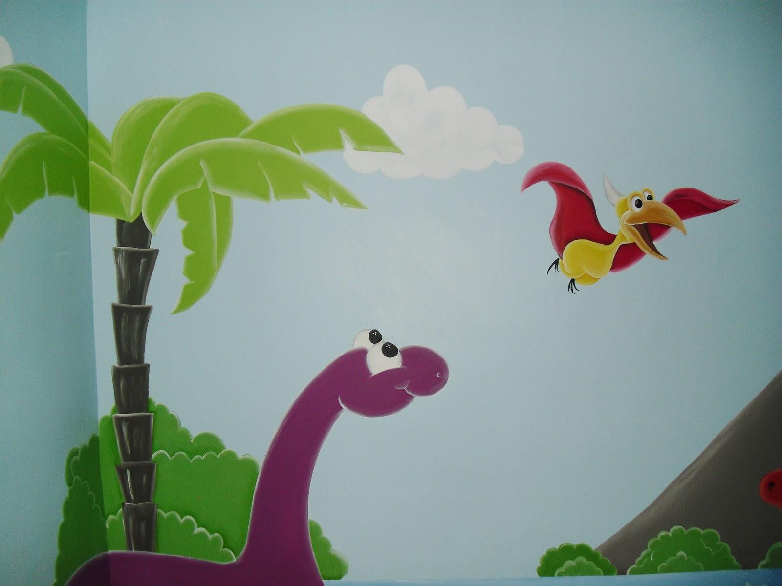 Murales infantiles dinosaurios recamara de marcelo - Paisajes infantiles para decorar paredes ...