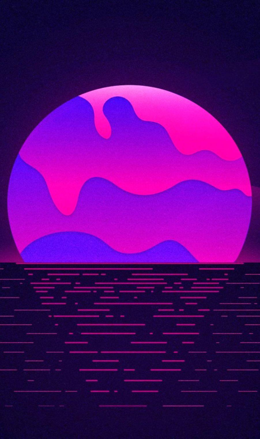 Download Neon Purple Sunset Free Pure 4K Ultra HD Mobile Wallpaper