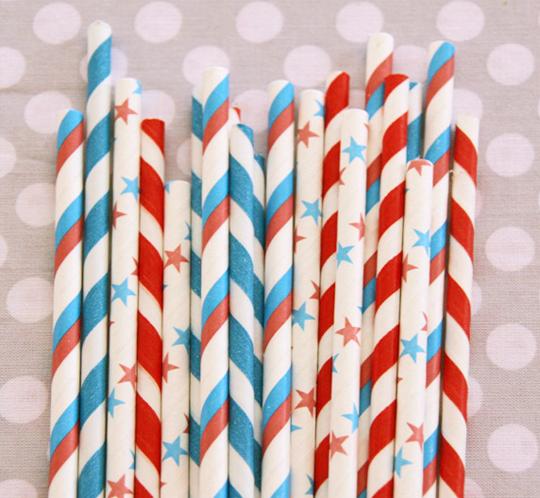 patriotic paper straws
