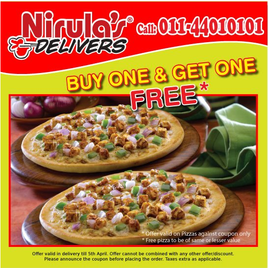Buy 1 Get 1 Free Pizza Offer At Nirula's Pizza India ...