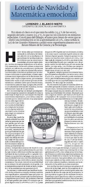 Lotería Nacional y Matemática emocional. Lorenzo J. Blanco. HOY