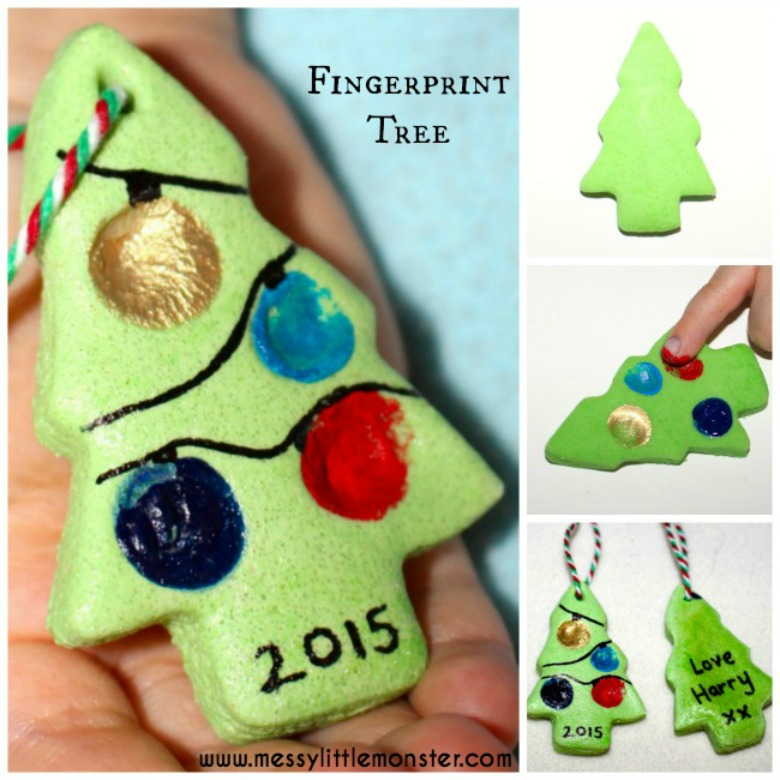 Salt dough ornament recipe. Fingerprint christmas tree ornament