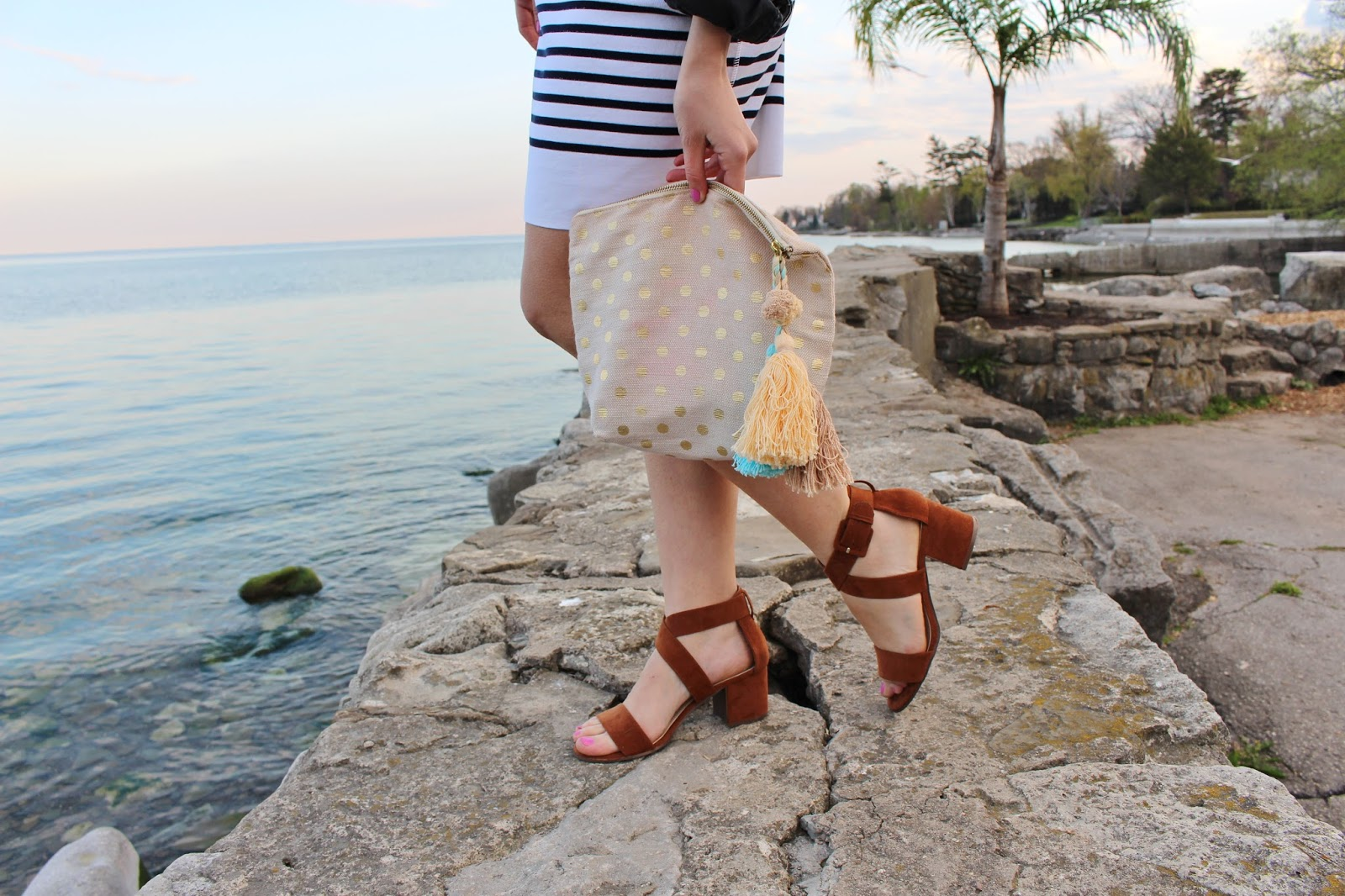 Bijuleni - Forever21 sandals and Shiraleah pouch