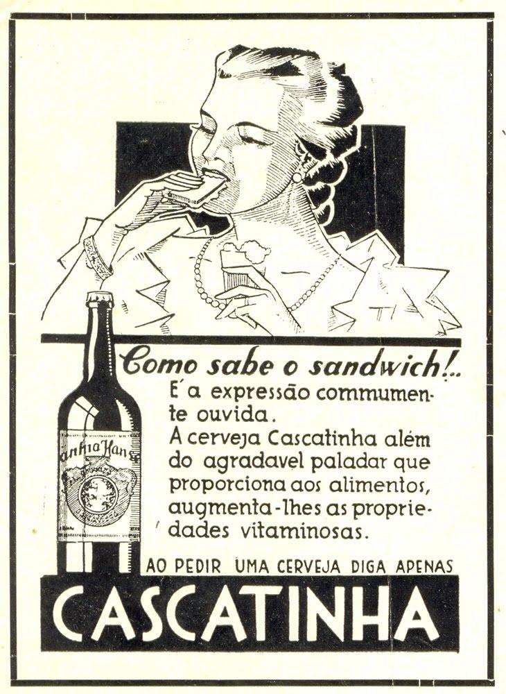 Propaganda da Cerveja Cascatinha que prometia um ganho no sabor dos alimentos e nas propriedades das vitaminas dos mesmos