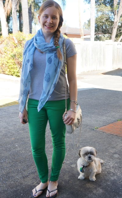 blue tree print scarf grey tee and green skinny jeans Rebecca Minkoff silver mini MAC | awayfromblue