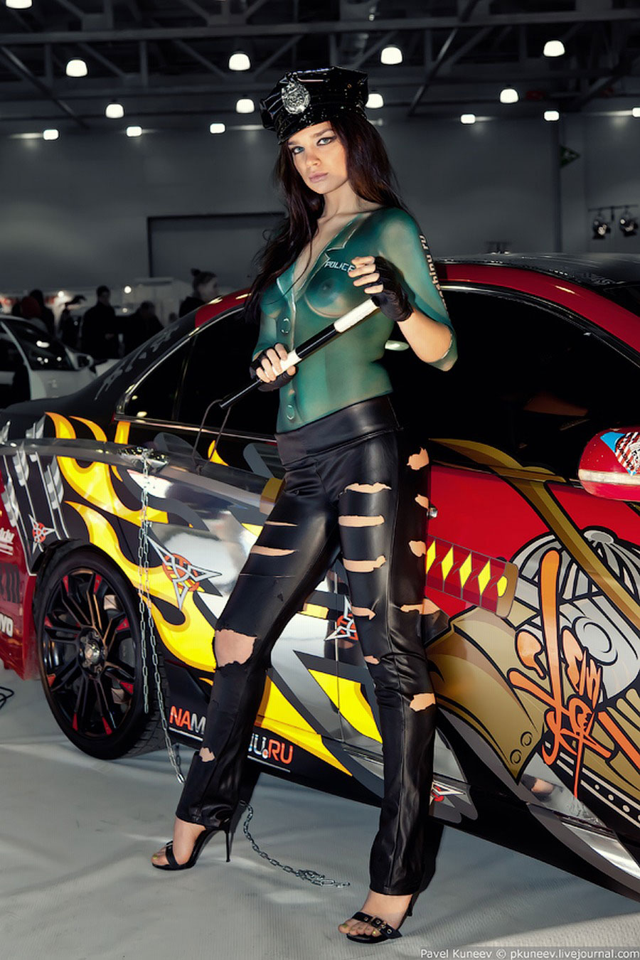 imo body painting  airbrush body painting with car