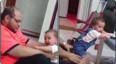 اب يعذب طفلته, السوشيال ميديا, الكشف عن جنسيته,