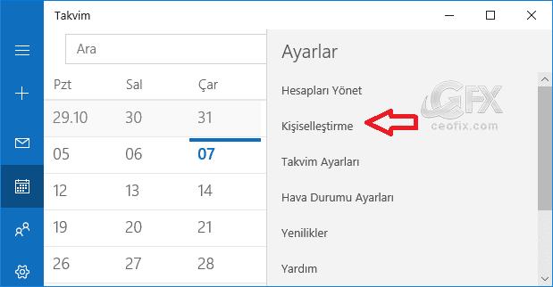 Windows 10 Takvim Uygulaması kişiselleştirme -www.ceofix.com