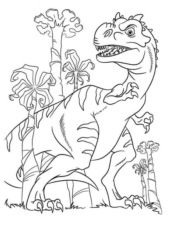 Tranh tô màu khủng long ăn thịt đi tìm thức ăn
