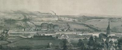 Lithogravure de Bonhommé, Montceau-les-Mines en 1857 (Ecomusée)