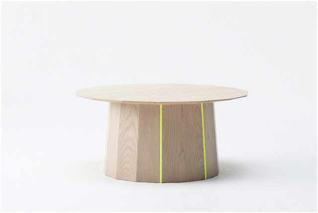 Colour Wood side table with neon yellow stripes designed by Scholten & Baijings for Karimoku New Standard
