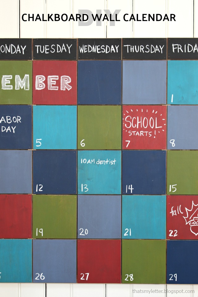 large colorful chalkboard wall calendar