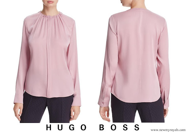 Crown Princess Mary wore Hugo Boss banora pleat-neck silk blouse