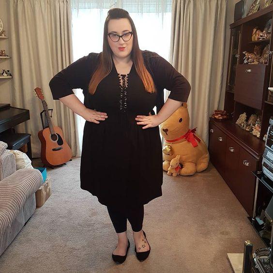 City Chic Black Lace Up Dress