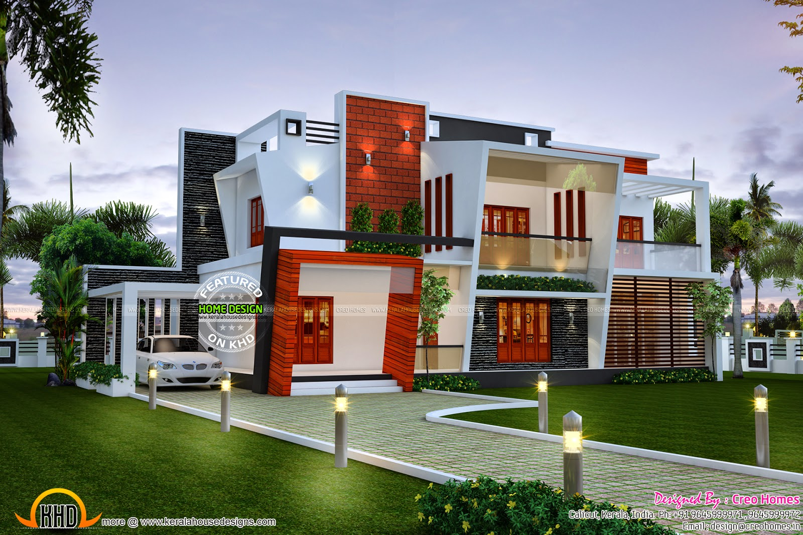Beautiful modern contemporary home kerala home design for Modern kerala style house plans with photos