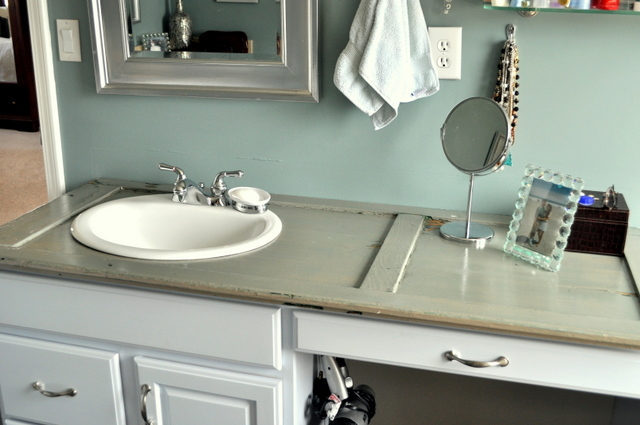 bathroom counters. Repurposing an Old Shutter Into a Bathroom Counter Remodelaholic