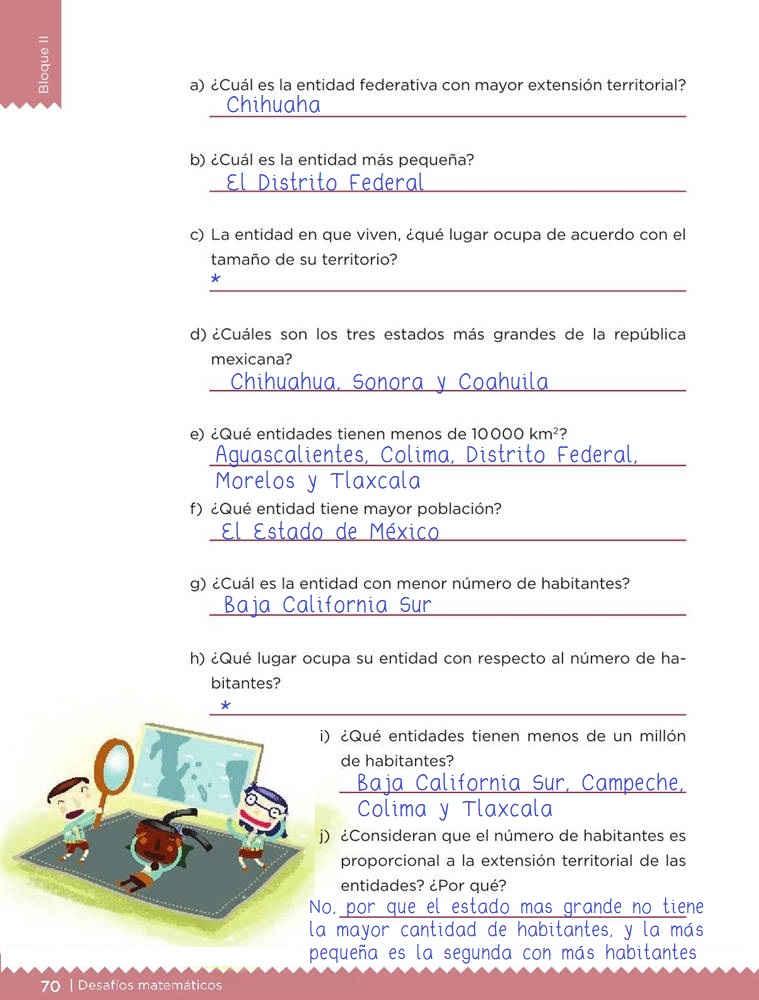 Libro de textoDesafíos MatemáticosNuestro paísSexto gradoContestado pagina 70
