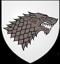 Escudo Stark: Lobo gris sobre fondo blanco