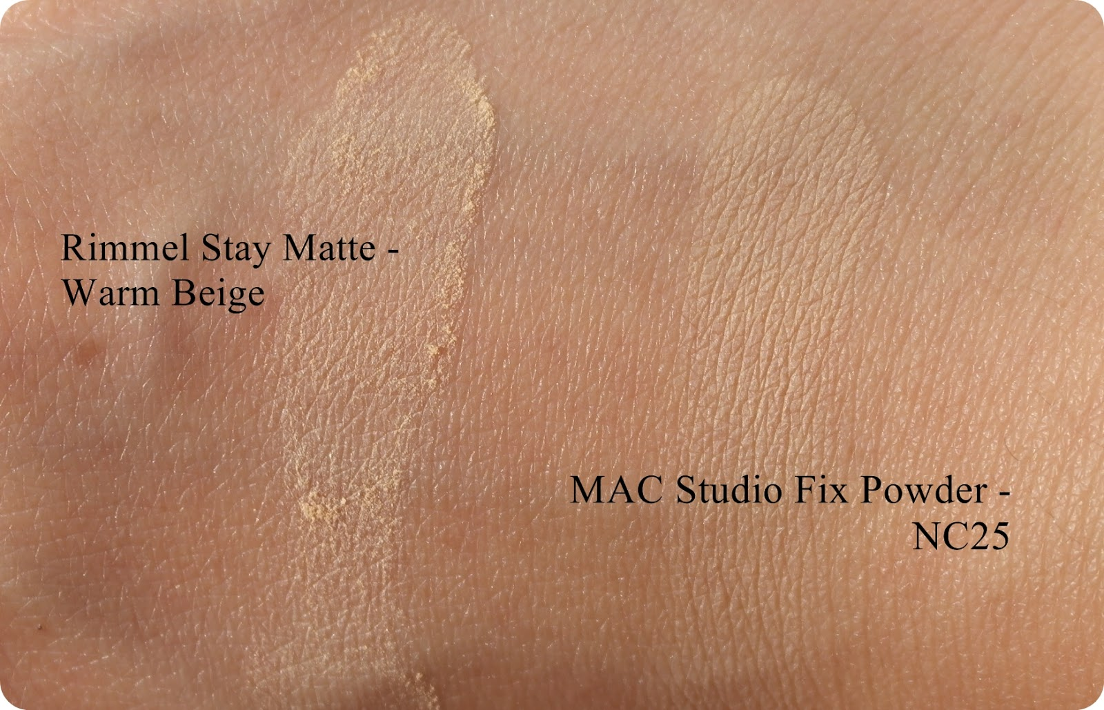 Rimmel Stay Matte Pressed Powder and MAC Studio Fix Powder Plus Foundation swatch, dupe, review and comparison