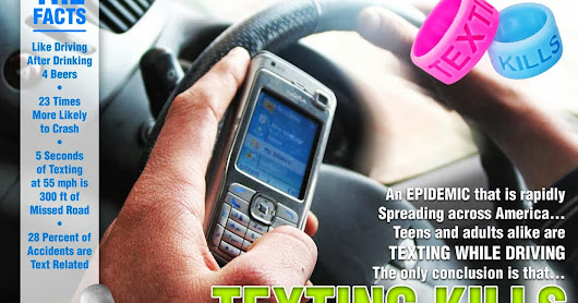 Don't Text and Drive Campaign Texting Thumb Bands in Stock or Custom Colors