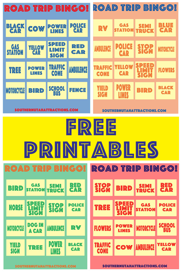 graphic relating to Road Trip Bingo Printable named Southern Utah Points of interest: Absolutely free Printable: Street Holiday Bingo