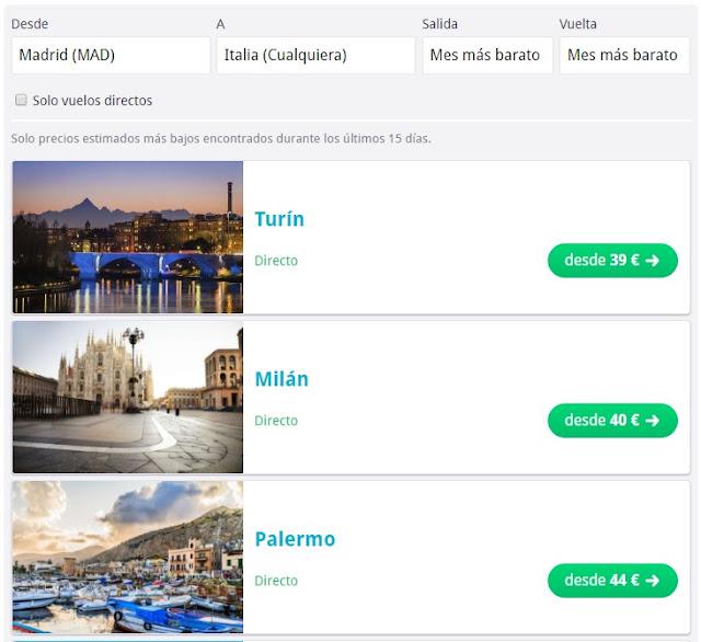 Vuelos más baratos a Italia